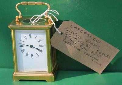Antique French Couaillet Freres 8 Day Time Piece Corniche Carriage Clock 11