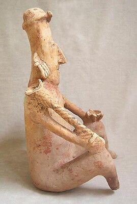 Pre-Columbian JALISCO SEATED MALE FIGURE HOLDING A CLUB 2