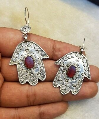 Rare Solid Silver Old Fatima Hand Unique Earring With Natural Red Agate Stone #2 4