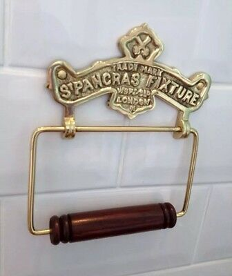 Vintage Toilet Roll Holder Shabby Chic Gold Brass Unusual Antique St Pancras Old 3