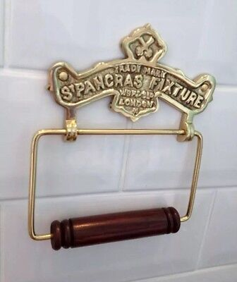 Vintage Toilet Roll Holder Shabby Chic Gold Brass Unusual Antique St Pancras Old 12