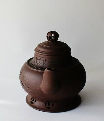 Chinese Pottery Yixing Clay Collectible Tea Pot with Lid Boy on Fish Signed 4
