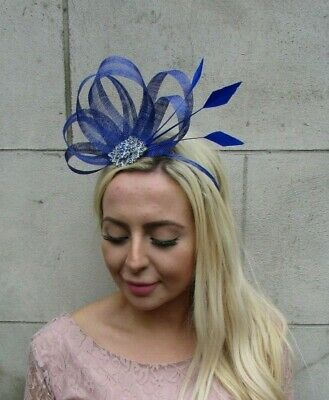 Royal Blue Silver Sinamay Feather Hair Fascinator Wedding Headpiece Races 7842 3