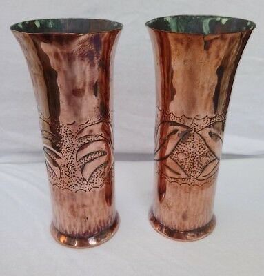 Arts & Crafts pair of Copper vases - believed to be Keswick KSIA 6