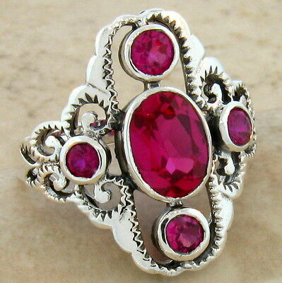 Antique Victorian Style Red Lab Ruby .925 Sterling Silver Ring Size 9,      #262 4