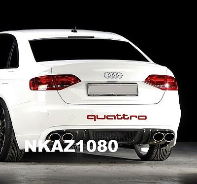 Powered by QUATTRO AUDI Vinyl Decal sticker Sport Racing emblem SILVER