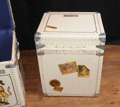 Pair Leather Trunks Luggage Boxes Coffee Tables Side 4