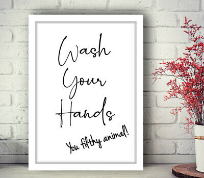 Bathroom Prints Script Style Wall Art Funny Poster. Quality Toilet Home Pictures 5