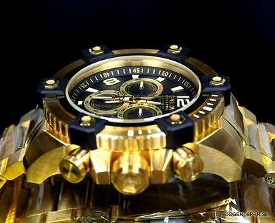 Invicta Reserve Grand Arsenal 63mm Swiss Movt Black MOP Gold Plated Watch New 9