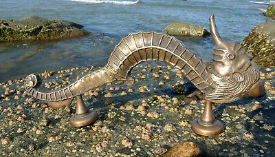 "large SEAHORSE solid brass door old look style heavy house PULL handle 14"" B 6"
