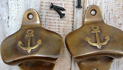 2 Ship Anchor Bottle Opener solid brass works AGED old vintage finish screws B 3