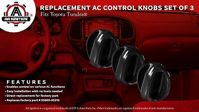 T1A AC Climate Control Knobs for Toyota Tundra 2000-2006 Set of 3 Fan Speed Air Conditioner and Heater Temperature and Blower Location Replacement for T1A 55905-0C010