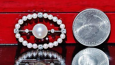 1930's 14k white gold pin brooch 9mm pearl & 0.50ct diamond antique handmad 5.9g 5