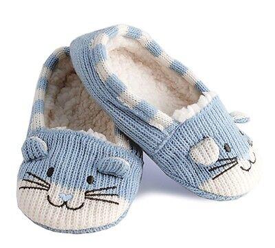 RJM Girls Soft Knitted Cat Slipper Socks with Grippy Soles 4