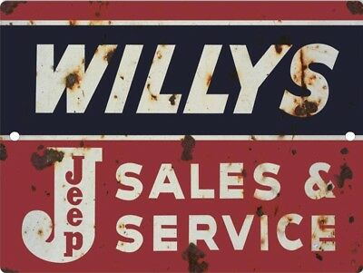 Willys Jeep Vintage Looking Reproduction Metal Aluminum Tin Sign 9x12 2