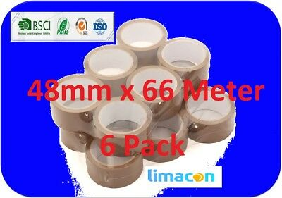 Brown Parcel Tape 48mm x 66M Packing Parcel Packaging Box Sealing – 6 Rolls pack 6