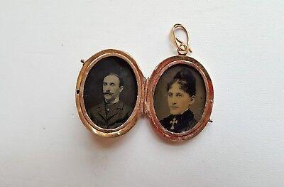 Large Victorian Aesthetic Locket Pendant 14K Yellow Gold, Tintype Photos Inside 2