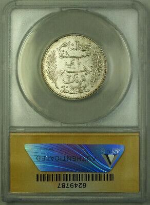 1915-A Tunisia AH1334 2 Francs Coin ANACS MS 62 KM#239 2