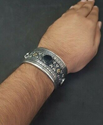 Silver plated And Brass Afghani Bangle With Black Agate Stone #761 9