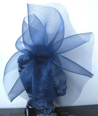 navy blue feather fascinator millinery burlesque headband wedding hat hair 3