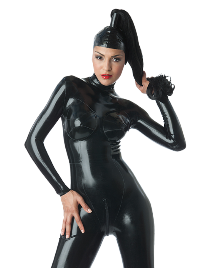 Latex Catsuit Rubber Gummi Open Face Without Wig Sexy Cool Hood Customized 0.4mm 2
