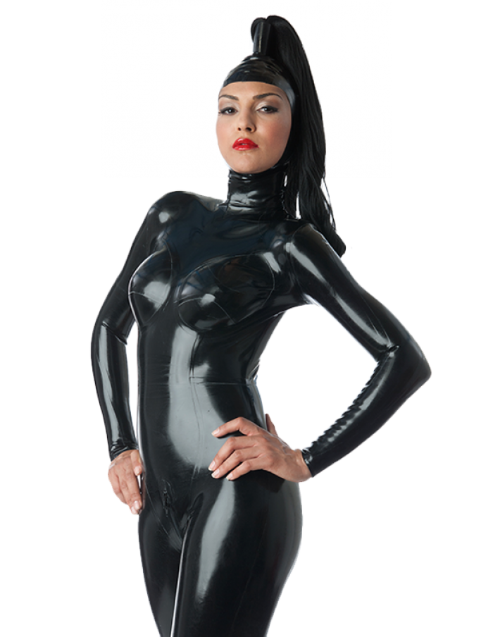 Latex Catsuit Rubber Gummi Open Face Without Wig Sexy Cool Hood Customized 0.4mm 3