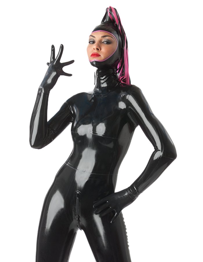 Latex Catsuit Rubber Gummi Open Face Colorful Streamers Sex Hood Customize 0.4mm 3