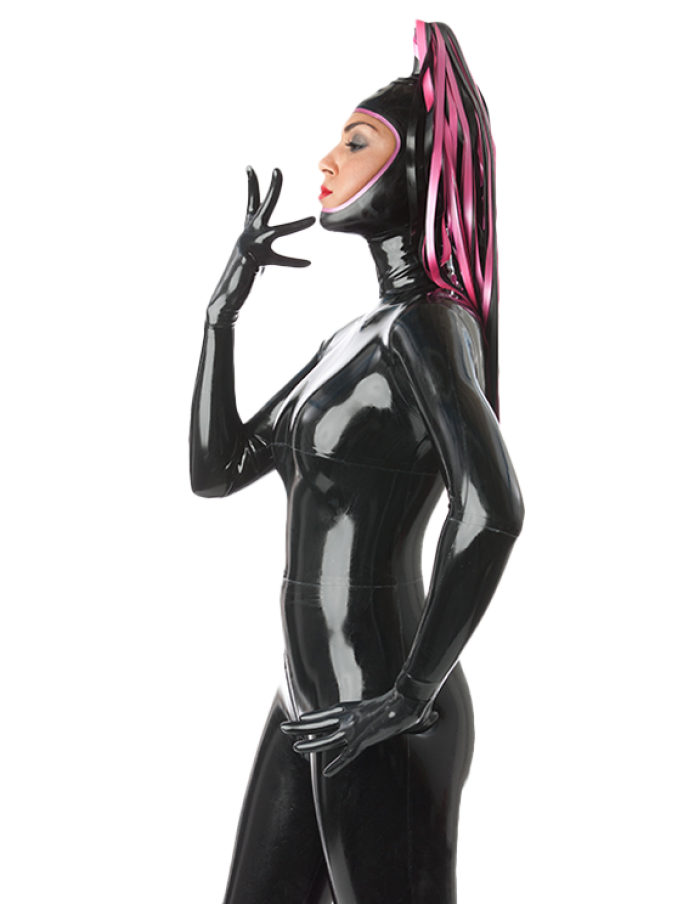 Latex Catsuit Rubber Gummi Open Face Colorful Streamers Sex Hood Customize 0.4mm 2