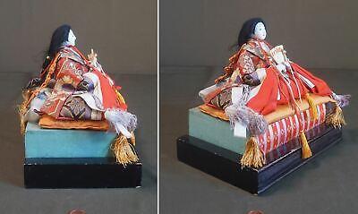 Fine Japanese Meiji Period Emperor & Empress Dolls on Stand 8