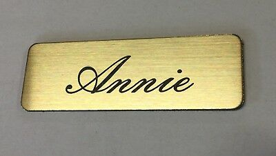 Brushed Gold Name Badge with Text and pin attached Laserable Plastic 70 x 23 mm 2