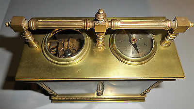 Antique French Double Carriage Clock Barometer / Alarm  / Compass Set 9