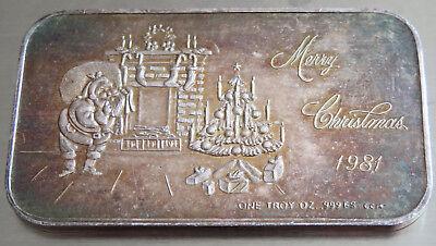 Crown Mint 1981 Santa Claus Art Bar Merry Christmas  1 Troy Oz .999 Fine Silver 8