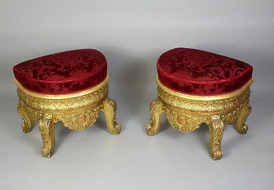 A Pair Of Large & Ornate Carved Gilt Wood Stools 4