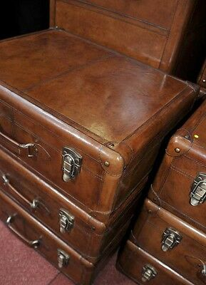 Pair English Leather Campaign Bedside Chests Nightstands Furniture 10