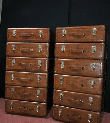Pair Leather English Campaign Chest Drawers Colonial Tall Boys Luggage 2