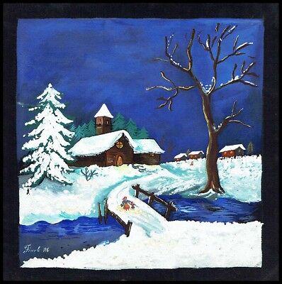 Paesaggio invernale con neve disegno originale tempera for Paesaggio invernale disegno