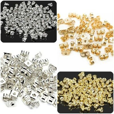 20/60/100x Gold Silver STUD EARRING BACKS BULLET BUTTERFLY Stoppers see note 4