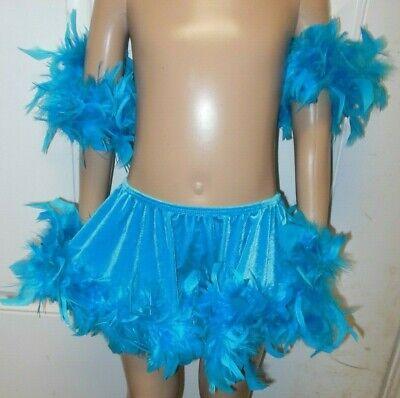 NWT VELVET SPANDEX half SKIRT TAP JAZZ Red FEATHERED Ladies Dance Rockette