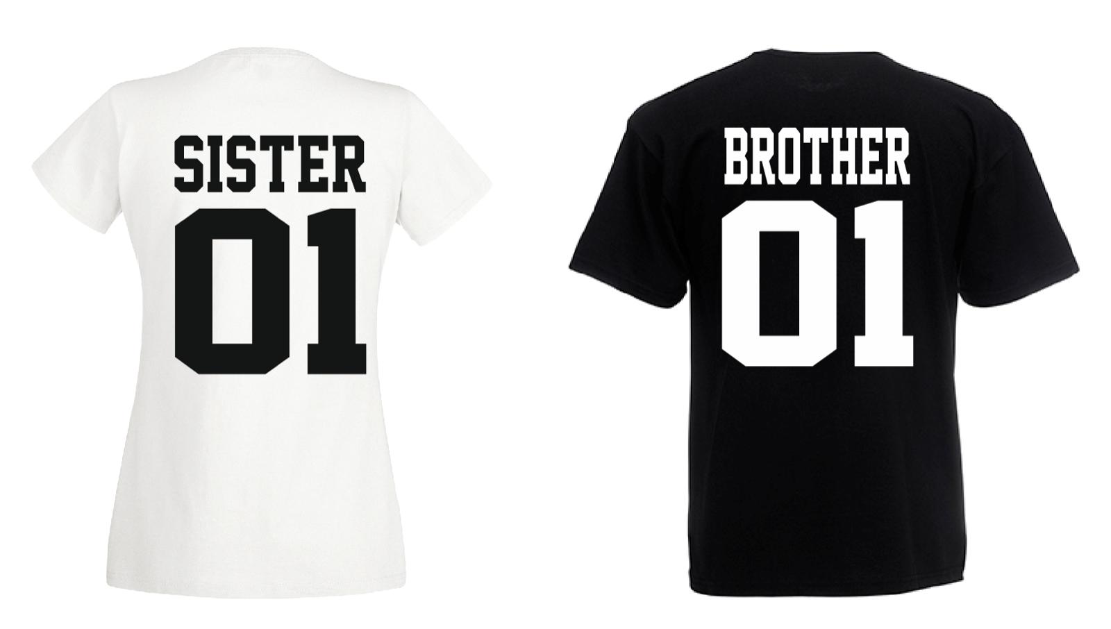 Brother & Sister - T Shirt Set - Geschwister Beste Freunde Bruder - DOPPELPACK - 3