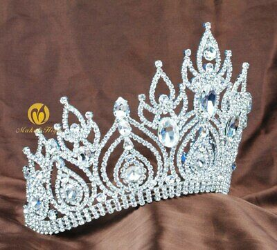 Fantastic Pageant Tiara Diadem Large Wedding Crown Crystal Bridal Prom Party New 3