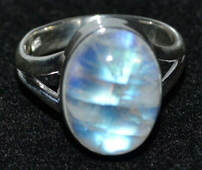 925 Sterling SILVER Rainbow Moonstone Ring Real Gemstone Jewellery, Sizes L to Z 3