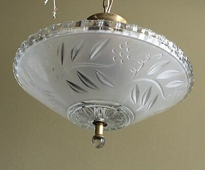 """Antique Pendant Light 12"""" Wide Frosted Etched Shade Glass Finial Great Patina 3"""
