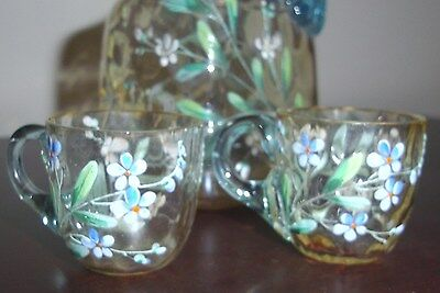 Rare 1880's New England Glass Hand-blown, Hand-painted Cordial Decanter & 2 Cups 10