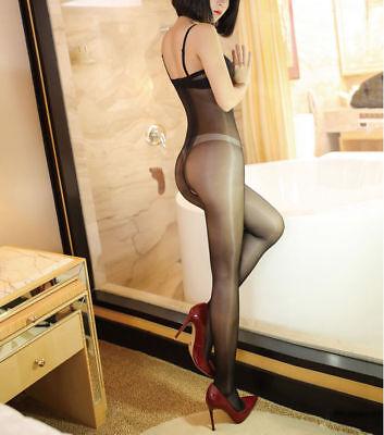 Body Bodysuit Playsuit offen Pantyhose SCHWARZ black transparent unisex glänzend