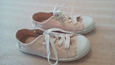 girls sz 13 peachy coloured lace up canvas shoes miss fiori good to go pumps 7