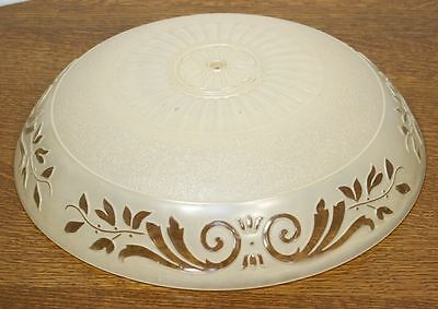 Large Antique ART DECO Round Ceiling Lamp Shade. Molded Glass Chandelier RARE 4