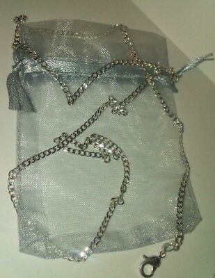 "Beautiful, Silver  2 mm Curb Chain Necklace & gift bag. 30"" long. 9"