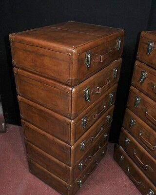 Pair Leather English Campaign Chest Drawers Colonial Tall Boys Luggage 10