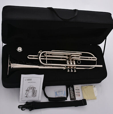Professional Silver nickel Bb Bass Trumpet 3 Piston Vavles JINBAO Horn With Case 9