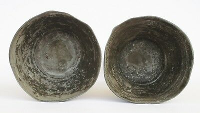 Rare Antique Portuguese 18Th Century Pewter Pair Of Candle Holders